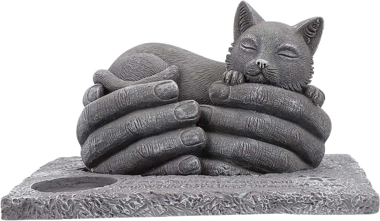 IMIKEYA Manos Gato Mascota Cementerio Estatua de Jardín Aire Libre con Vela Titular Piedra Antigua Mascota Recuerdo Placa de Piedra