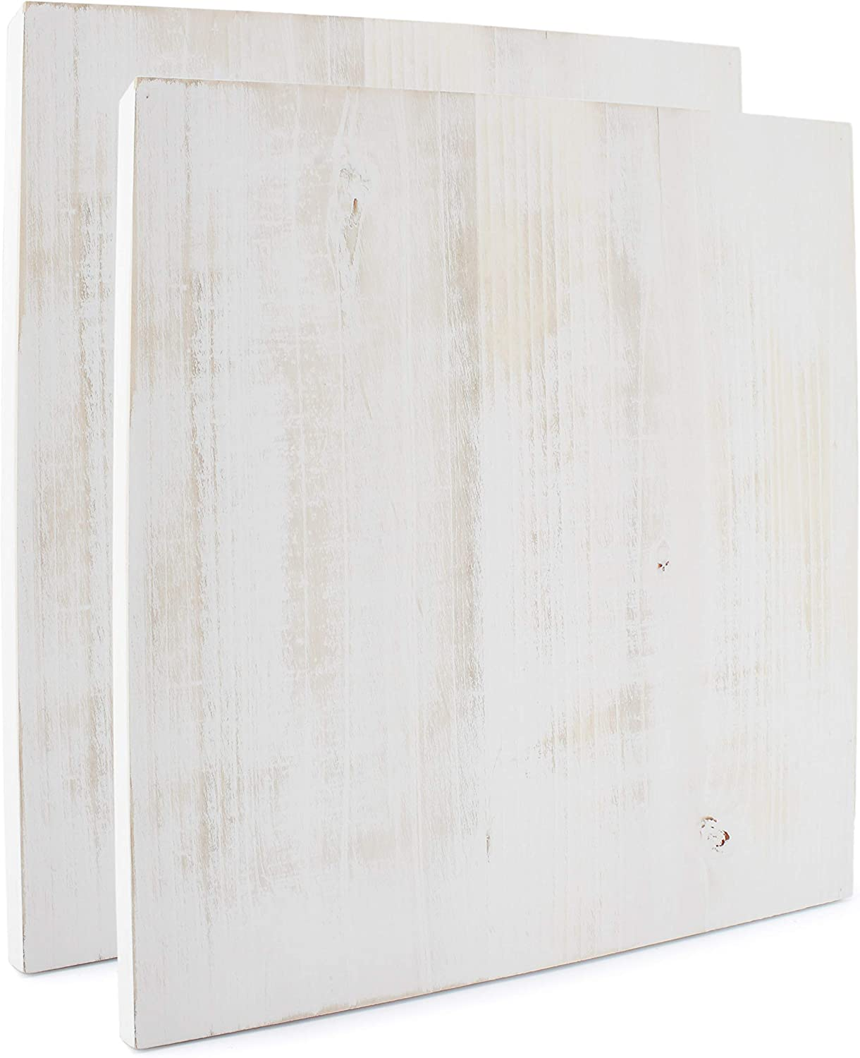 Darware Blank Wood Plaques (2-Pack, Whitewashed), White Wooden Signs for DIY Crafts 12x12 Inch