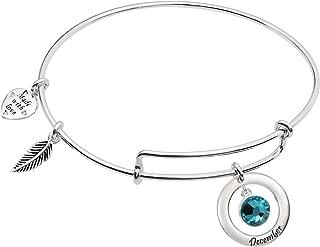 Sterling Silver Imitation Birthstone Charm Bangle Bar Adjustable Bracelet
