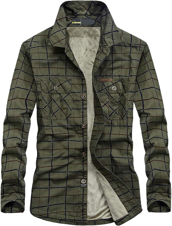 Haellun Men's Long Sleeve Sherpa Lined Shirt Jacket Flannel Plaid Fleece Coats