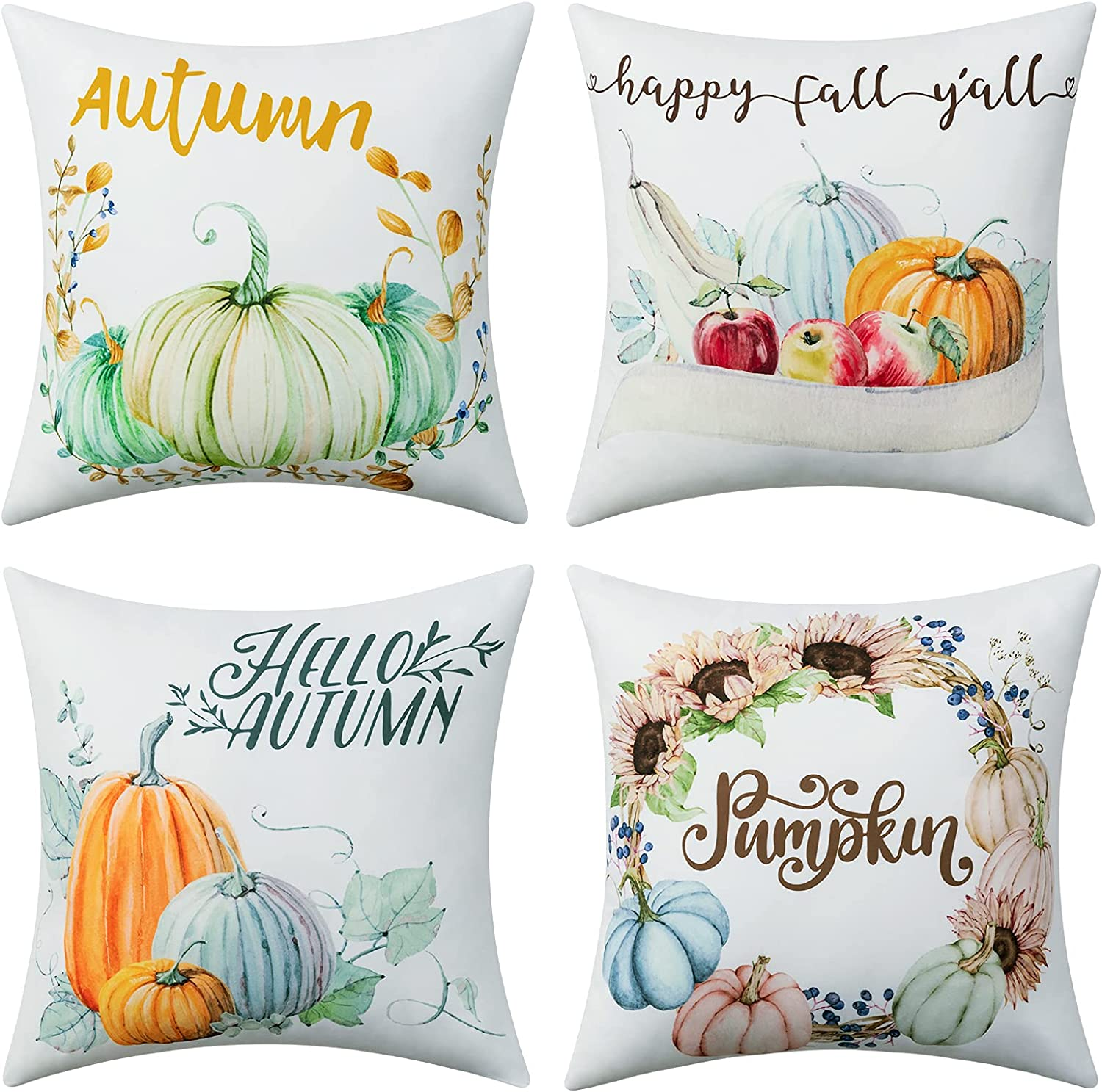 Dreamcountry Fall Pillow Covers 18x18 Inches Set of 4 Fall Decor Throw Pillow Covers Cotton Linen Pumpkins Decorative Pillow Covers for Thanksgiving Autumn Farmhouse Outdoor and Room Decorative