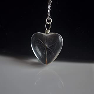 Dandelion Seed Make a Wish Real Flowers Heart Love Glass 925 Sterling Silver Chain Necklace