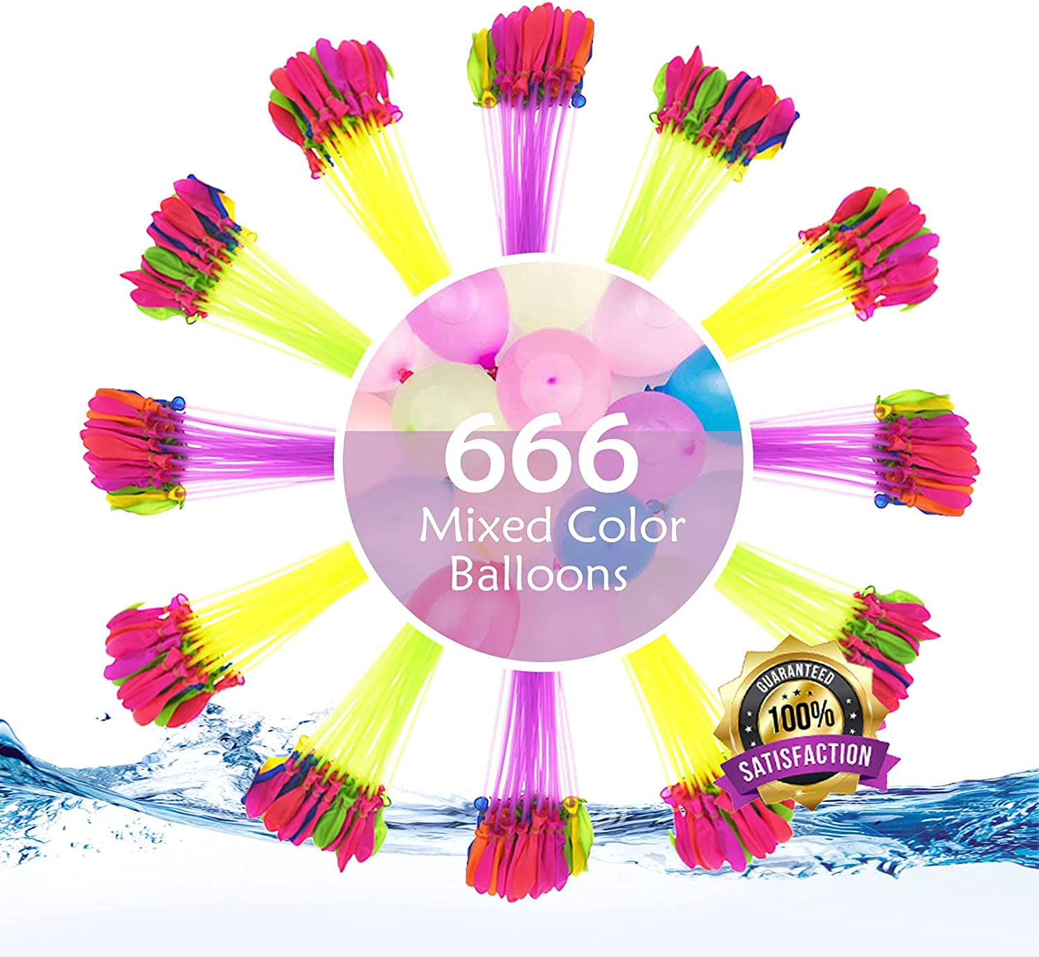 Water Balloons Classic 6 Pack At the price - 666 Multi-Colored Biodegradabl Rapid