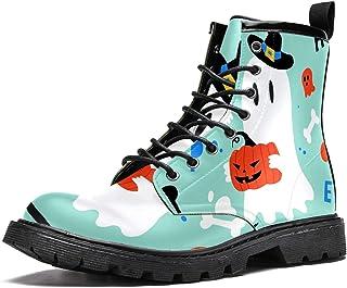 Chapeau de sorcière Halloween avec imprimé citrouille - Bottes d'hiver chaudes à lacets - Chaussures d'école pour homme, a...