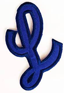 2X3 INCH L Patch Blue School A-Z Letters ABC Embroidery Embroidered Iron On/Sew On Patch Logo for Clothes Bag T-Shirt Jeans Biker Badge Applique (English A-Z Blue 011)