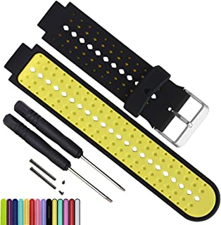 MyTime OliBoPo Silicone Waterproof Replacement Watch Bands and Straps with 2PCS Pin Removal Tools + 2PCS Lugs Adapters for Garmin Fouerunner 220 230 235 620 630 735 GPS Running Smart Wrist Watch