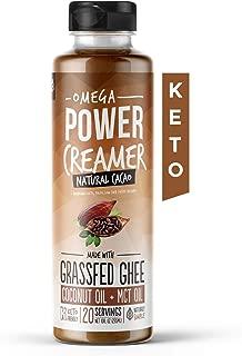 Omega PowerCreamer - Chocolate Cacao Keto Coffee Creamer - Grass-fed Ghee, MCT Oil, Organic Coconut Oil, Organic Cacao Powder - Superfood Butter Blend - Paleo, Sugar Free, 10 fl oz (20 servings)