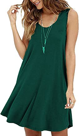 0751f898ade zero jorla Sleeveless Casual Loose Tank Summer Dress Plus Size Fit T-Shirt  Tunic Dresses