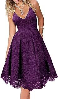 Women's Sexy V Neck Sleeveless Lace Dress
