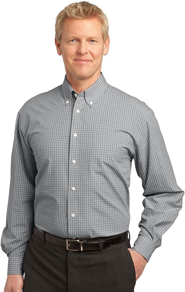 Port Authority Men's Plaid Pattern Button-Down Shirt, Charcoal, Large