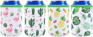 Set of 4 Neoprene Can Sleeves - Collapsible Thermocoolers Can Cooler Sleeves Tropical Summer Soda Beer Caddies for Weddings Bridal Shower Birthday Beach Bachelorette Parties