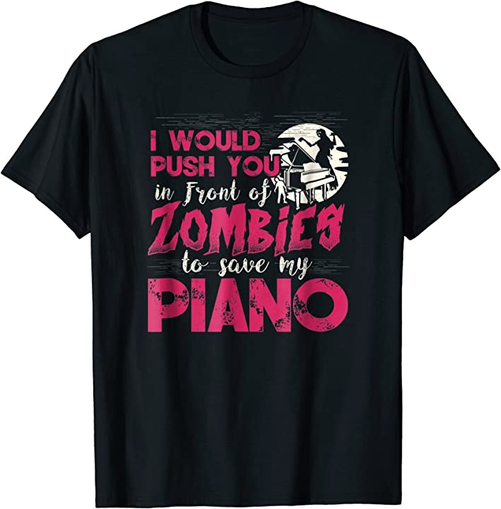 Zombie Piano Player Pianist Keyboard Funny Graphic T-Shirt