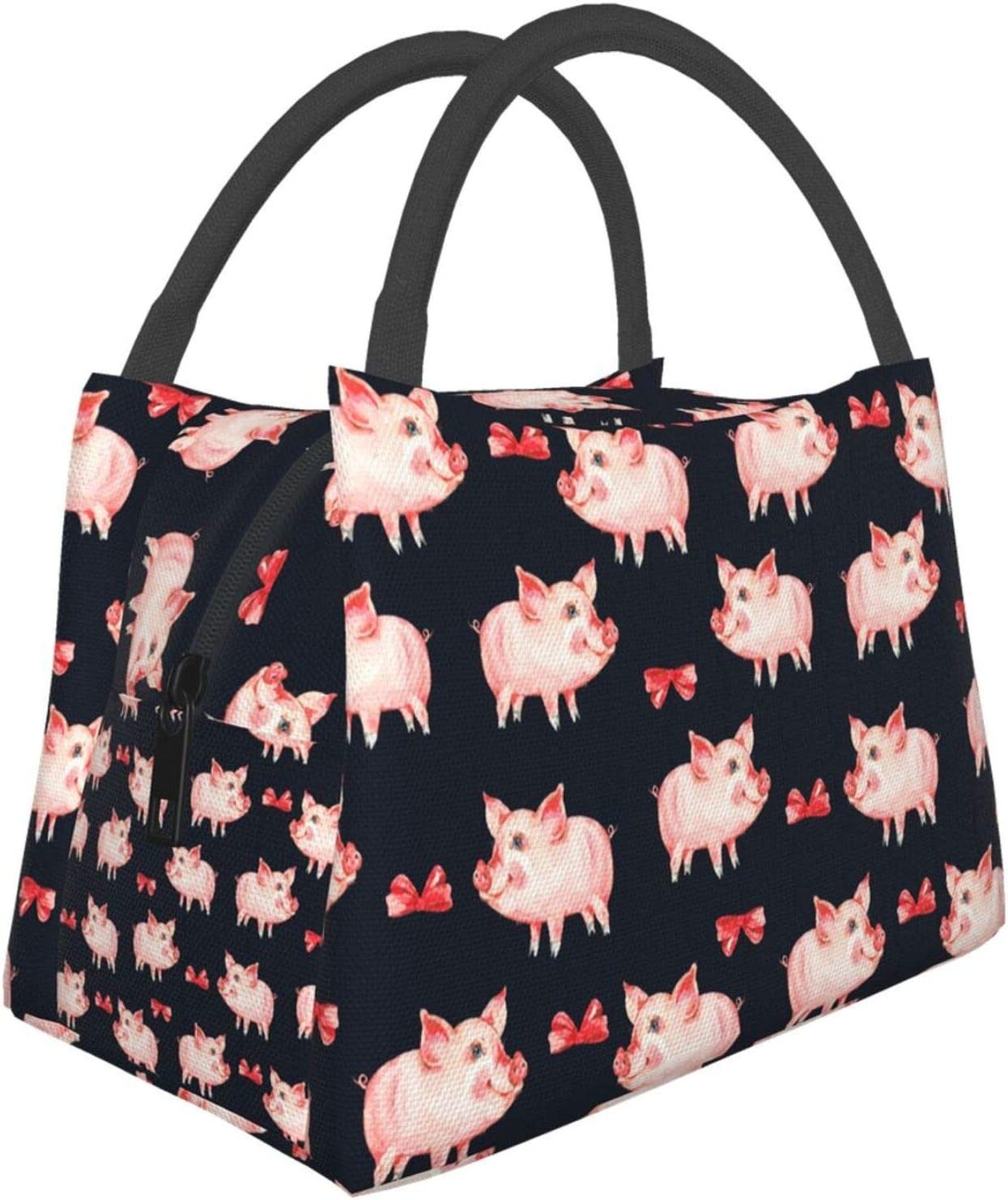 Pink Pig And Bow Lunch Bag Reusable Insulated Water-Resistant Thermal Soft Lunch Box For Work Picnic Office Outdoor