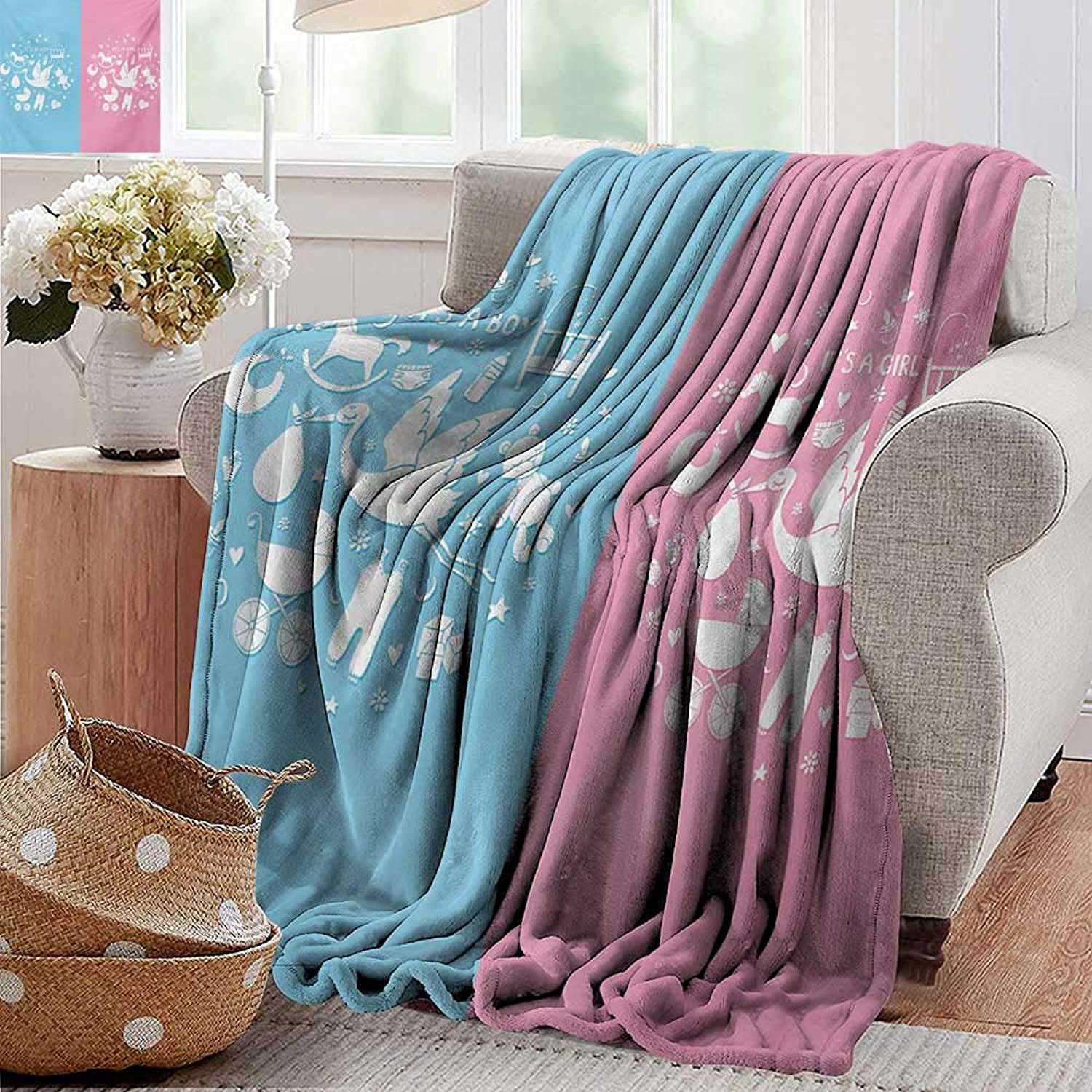 PearlRolan Velvet Touch Ultra Plush,Gender Reveal,Cute Icons Girls Boys Baby Shower Theme Stylized Toys Pattern,Sky bluee and Pale Pink,300GSM,Super Soft and Warm,Durable Throw Blanket 50 x60