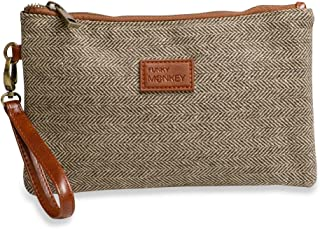 {Sophie-Large} Wristlet Wallet Brown & Beige Tweed Clutch Bag Phone Purse Handbag - Funky Monkey Fashion