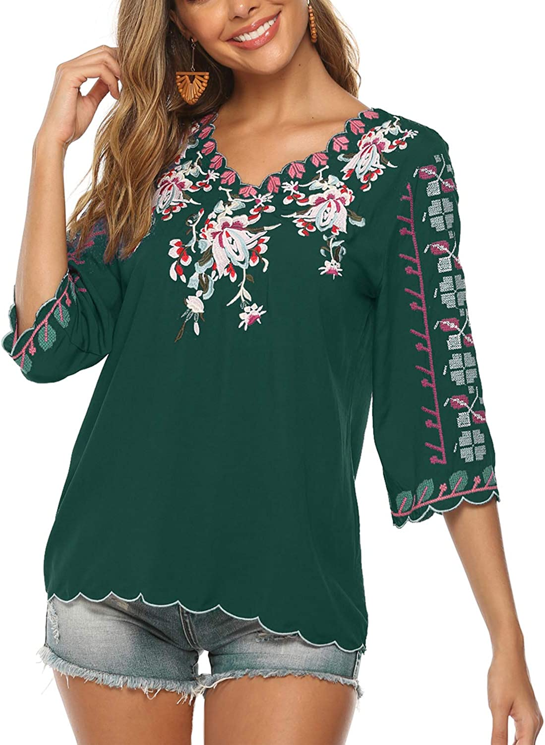 New York Mall Mansy Women's Embroidery Mexican Bohemian Sleeve Ranking TOP19 Short Ruf Shirt