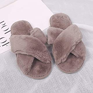 Cross Band Women Plush Soft Cute Slippers, Open Toe Non Slip Cozy Fluffy Slip on Fuzzy Slides Home Flats Slippers,E,S