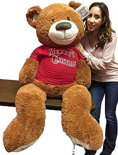 Big Plush 5 Foot Honey Brown Teddy Bear Wears Removable Red Tshirt That says Merry Christmas