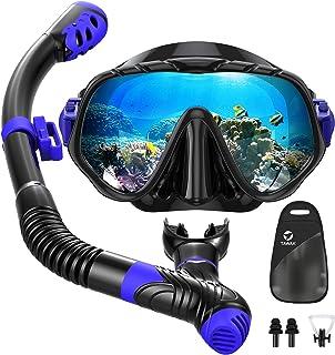 Snorkel Set, TAWAK Anti Leak Panoramic Snorkel Mask Set with Resistant Tempered Glass, Anti-Fog Snorkel Gear Adjustable St...