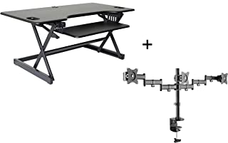 """Rocelco 46"""" Large Height Adjustable Standing Desk Converter with Triple Monitor Mount Bundle   Quick Sit Stand Up Computer Workstation Riser   Retractable Keyboard Tray   Black (R DADRB-46-DM3)"""