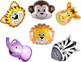 Large Jungle Elephant Giraffe Tiger Lion Monkey Zebra Foil Balloons Kit Zoo Festival Party Supplies Kid's Toy Gift Pack of 6