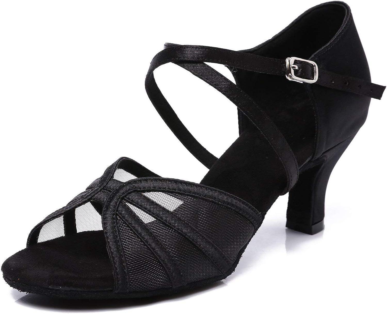 CLEECLI Women's Ballroom Dance shoes Latin Salsa Dancing shoes(8.5,Black)