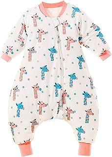 Saco de dormir para bebé con piernas, cálido forrado, mono de algodón, pijama extraíble, manga larga, saco de dormir de invierno de 100 jirafa