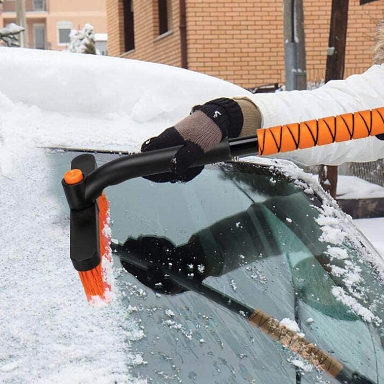 Blue SUHU Car Snow Brush Removal with Ice Scraper and Foam Grip Detachable Snow Mover Extendable Snow Brush for Car Auto SUV Truck Windshield Windows