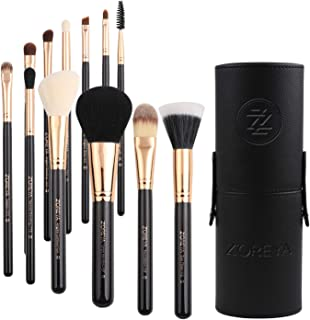 Zoreya Premium Travel makeup brush set 12 pieces essential Cosmetic tools Synthetic Hair Foundation Powder Eye Cosmetic brushes With Black Holder For Valentines Gifts