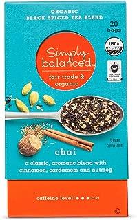 Simply Balanced Organic Black Spiced Tea Blend Chai 1.4OZ- 20 tea bags (One Pack)