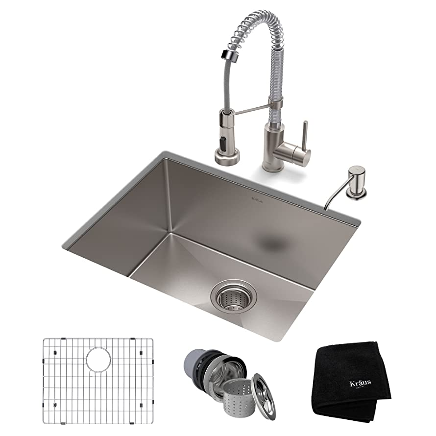 KRAUS KHU101-23-1610-53SSCH Set with Standart PRO Sink and Bolden Commercial Pull Faucet in Stainless Steel Chrome Kitchen Sink & Faucet Combo,
