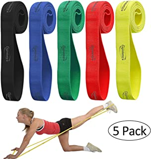 Gymletics 5 Pack Pull Up Assist Bands,  Fabric Exercise Resistance Bands Set,  Heavy Duty Stretch Bands,  Mobility Bands for Workout Body,  Stretching,  Exercise,  and Assisted Pull Ups