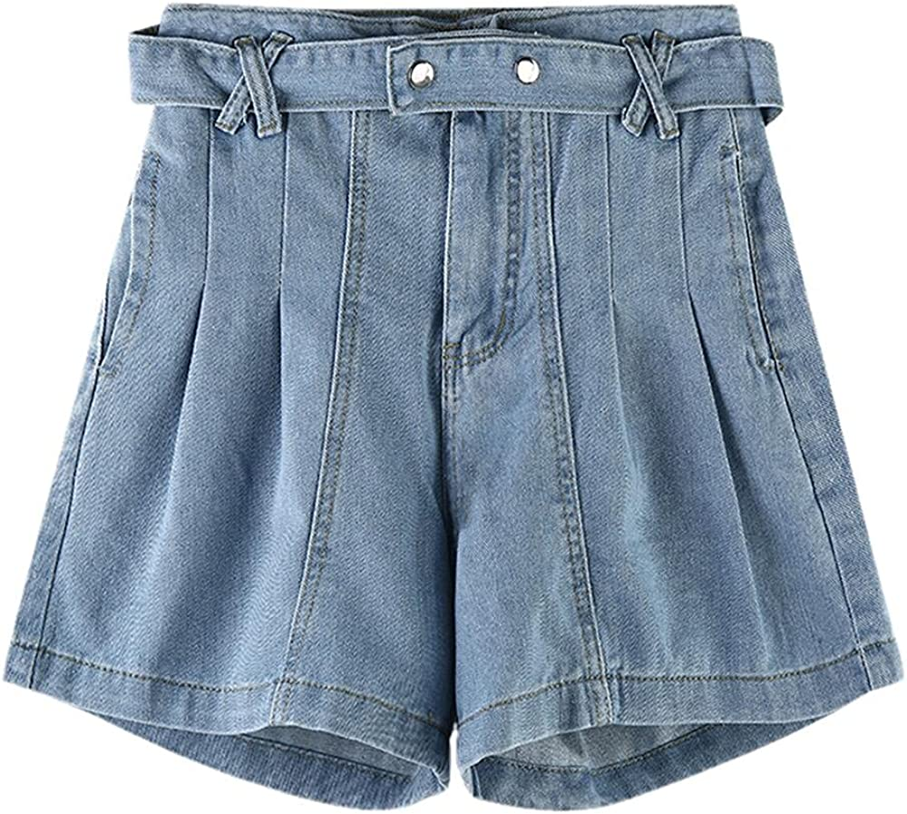 Shorts Ladies Denim Solid Color Simple Stitching Buttons Retro high Waist