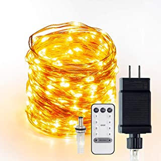 LED String Lights 66ft 200 LEDs Fairy Lights Plug in Connectable Waterproof Dimmable Outdoor/Indoor Starry String Lights, Warm White Copper Wire Lights with Remote for Wedding Garden Room Patio