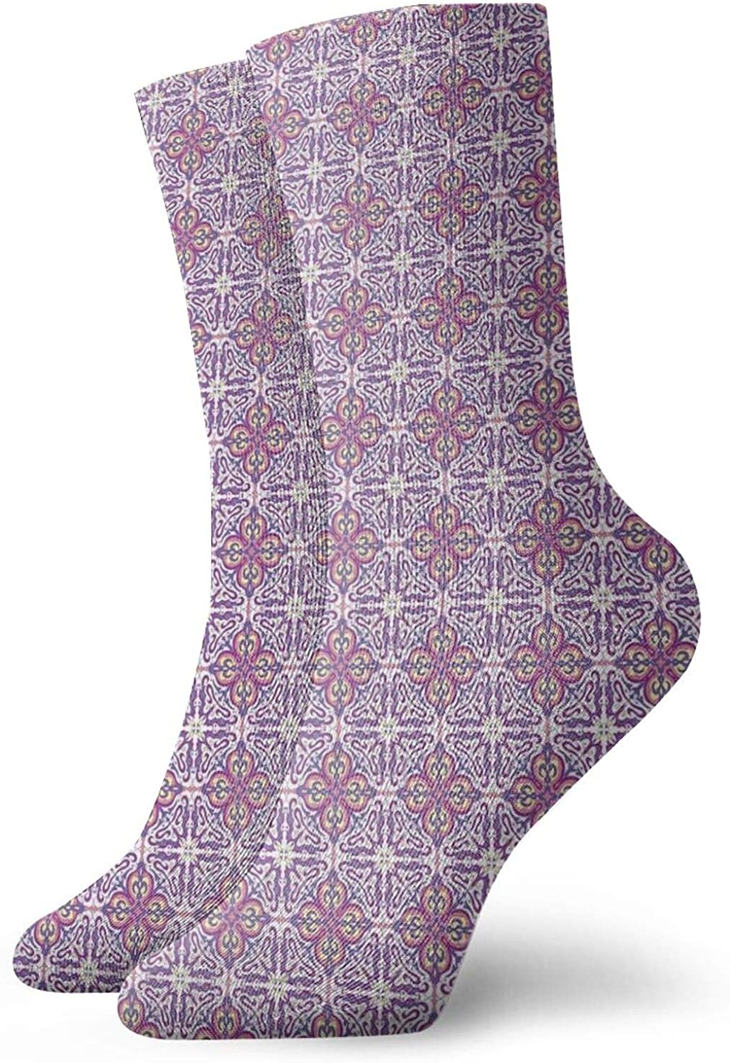 Compression High Socks-Abstract Oriental Floral Motifs Antique Hand Tile Design Repeating Pattern Best for Running,Athletic,Hiking,Travel,Flight