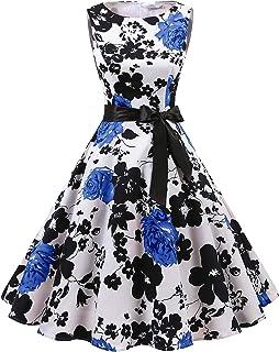 6acdbc200078 Gardenwed Women's Audrey Hepburn Rockabilly Vintage Dress 1950s Retro  Cocktail Swing Party Dress