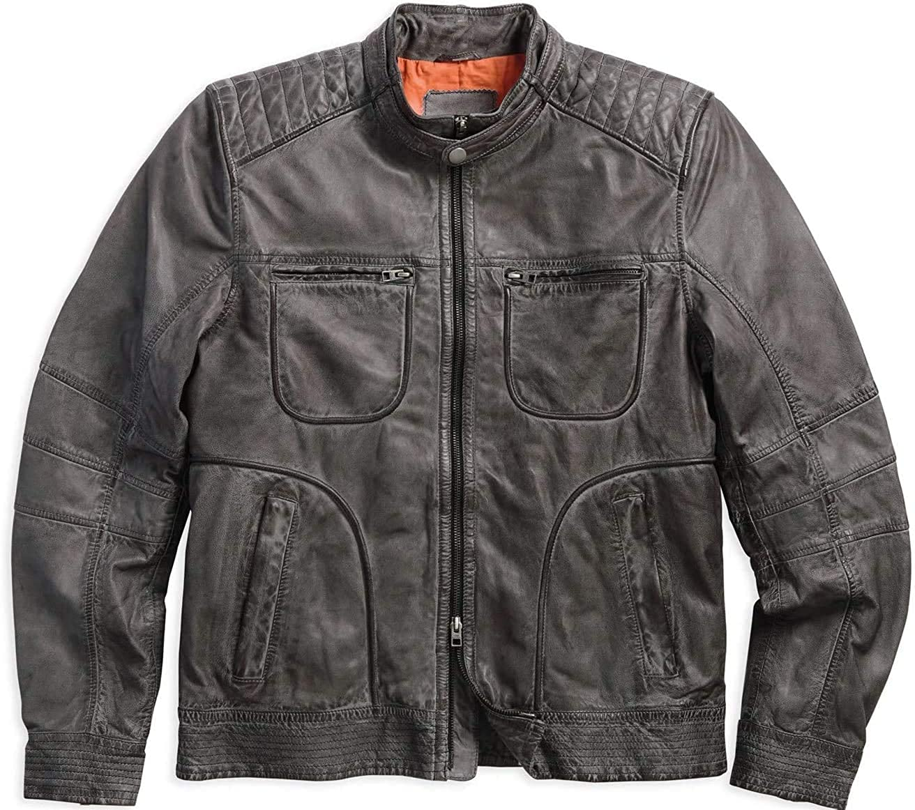 Fashionly Mens Womens Fashion Outerwear Switchback Washed Lambskin Cowhide Leather Black Party & Event Jacket