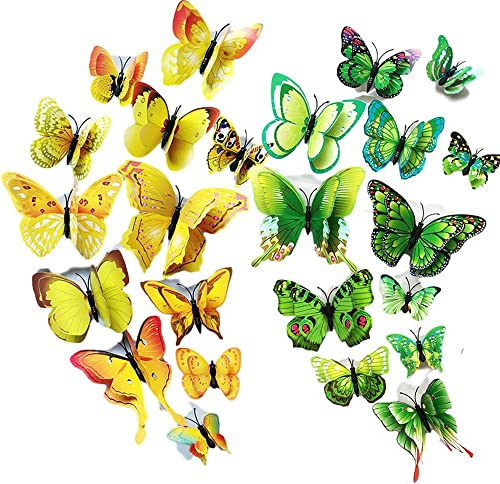 24 PCS Butterfly Wall Sticker【Double Wings】, T Tersely Green + Yellow 3D Butterfly Wall Removable Sticker Decals , Ho...
