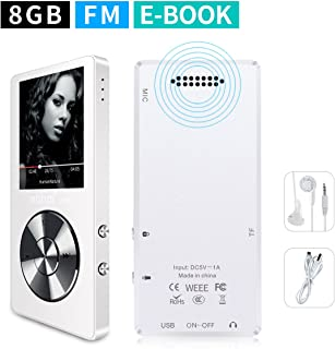 MYMAHDI 8GB Portable MP3 Player(Expandable Up to 128GB), Music Player/One-Key Voice Recorder/FM Radio 70 Hours Playback with External Speaker HD Headphone, White