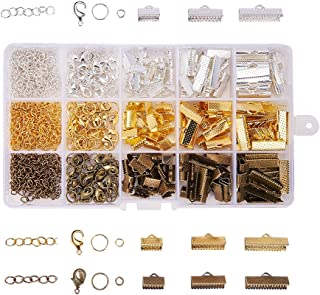 PandaHall Elite 3 Series 420Pcs/Box Jewelry Making Finding Kits of Ribbon Ends Lobster Claw Clasps Jump Rings Cord Ends with Twist Extender Chains In 3 Colors Mixed Sizes