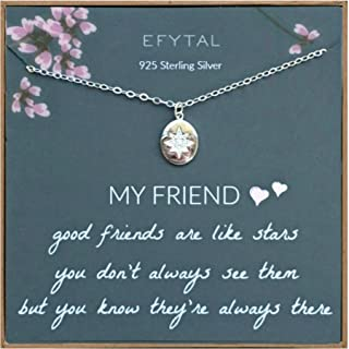 EFYTAL Best Friend Gifts, 925 Sterling Silver Star Friendship Necklace, Birthday Jewelry Gift Necklaces for BFF, Bridesmai...