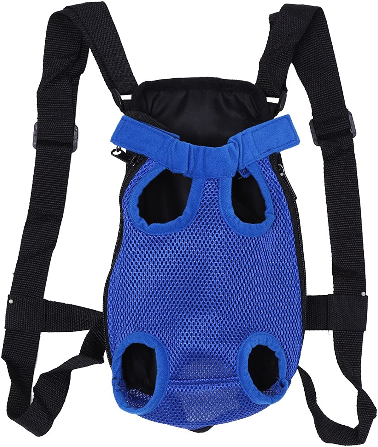 Pet Backpack, Fashionable Durable Dog Five Holes Front Chest Tote Carrier Net Bag(Dark bluee S)