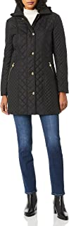 Anne Klein Women's Mixed Quilted Coat with Removable Hood