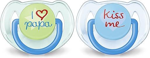 Philips Avent Classic - Set De 2 Chupetes Decorados, Para Niñas De 6 A 18 Meses, Multicolor Color Azul Translúcido -...