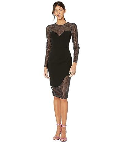 BCBGMAXAZRIA Mixed Media Midi Dress (Black) Women