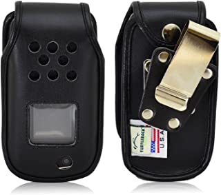 Turtleback Fitted Case Made for Samsung Rugby 4 Flip Phone Black Leather Rotating Removable Metal Belt Clip Made in USA