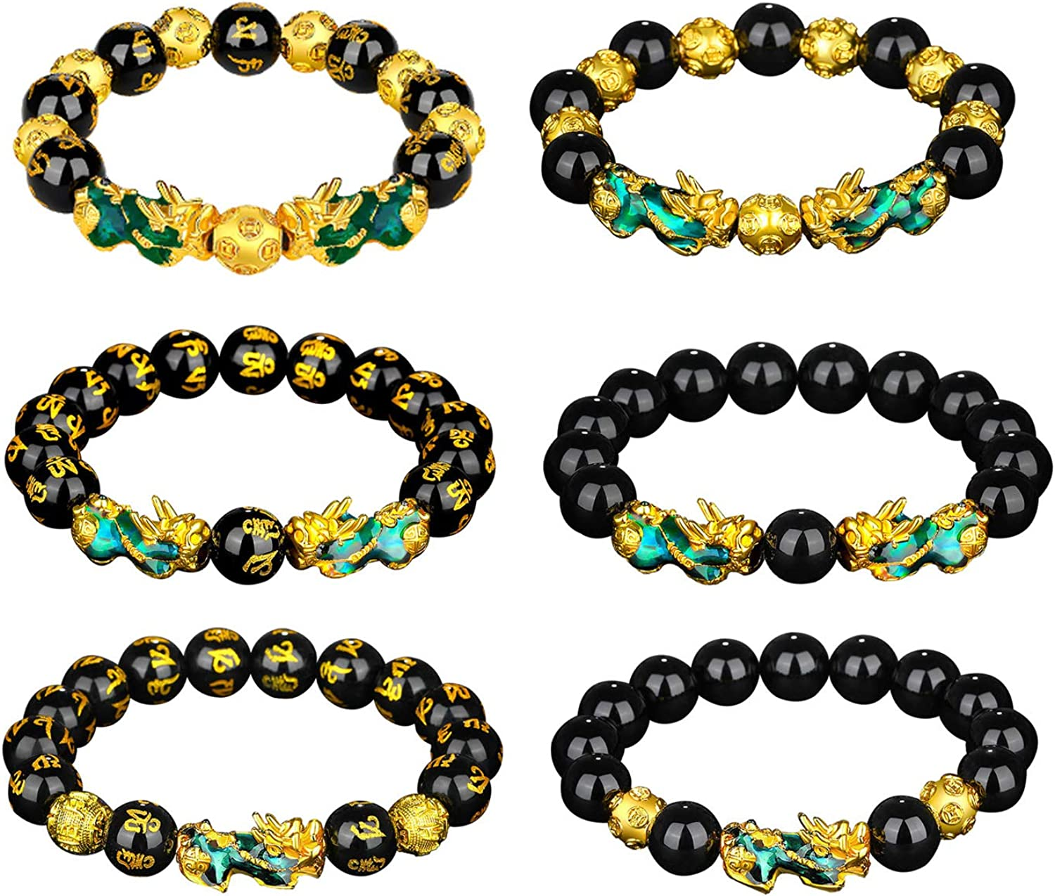 Nanafast 8 Pcs Feng Shui Pixiu Bracelets Necklace Set for Women Men Hand Carved Mantra Beads Pi Xiu Bracelet for Attracting Wealth and Good Luck Girls Boys Gift