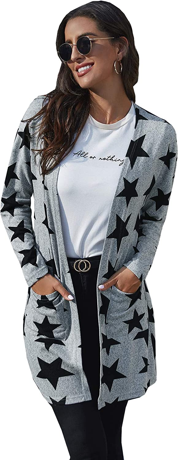 MakeMeChic Women's Star Print Open Front Longline Cardigan Sweater with Pocket