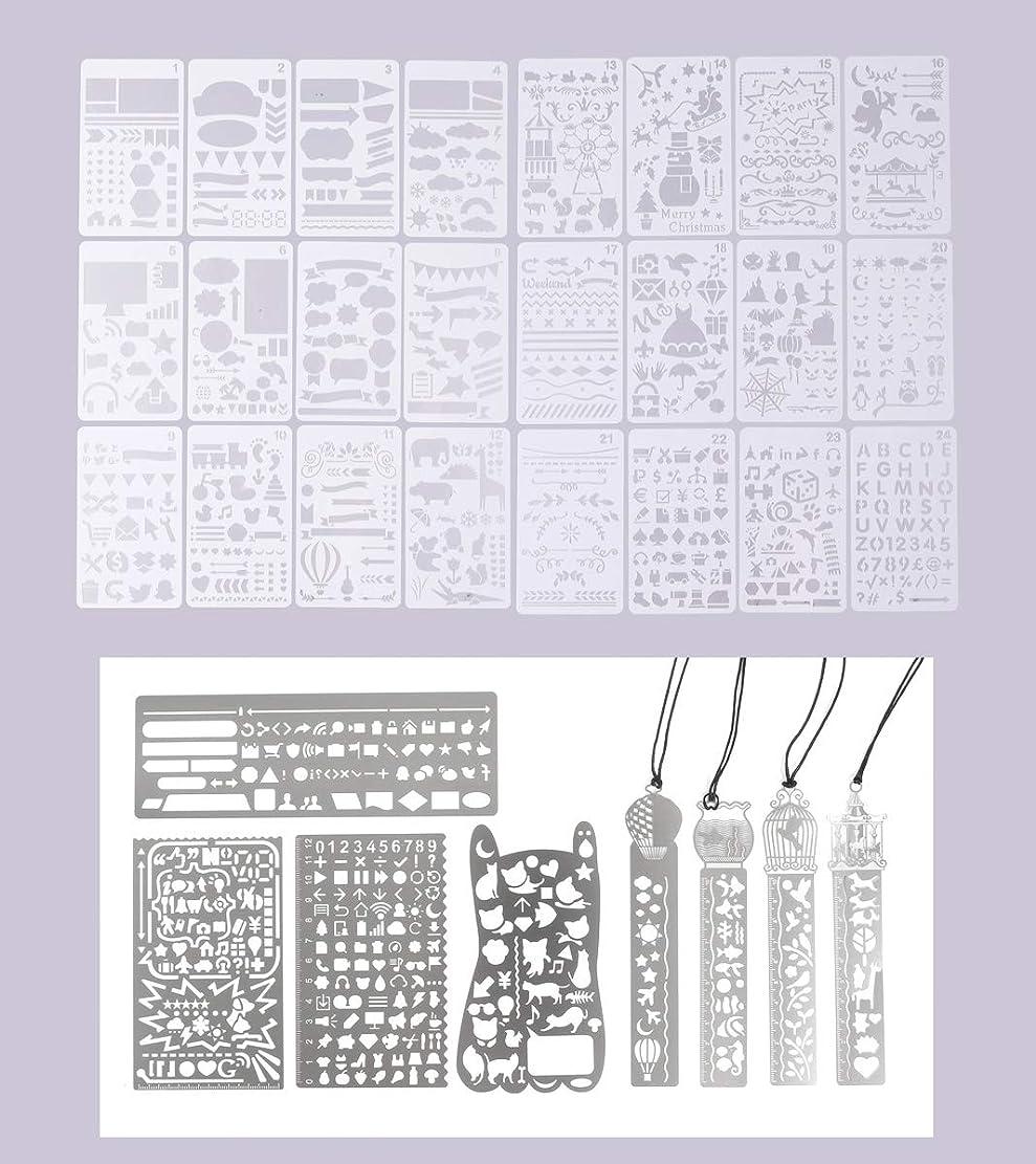 韓国語不名誉パレードステンシル シート テンプレート しおり 型 4点& 金属 テンプレ 4点& テンプレ 25点 製図 絵画 DIY