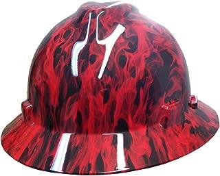 Izzo Graphics Red Fire MSA V-Guard Full Brim Hard Hat